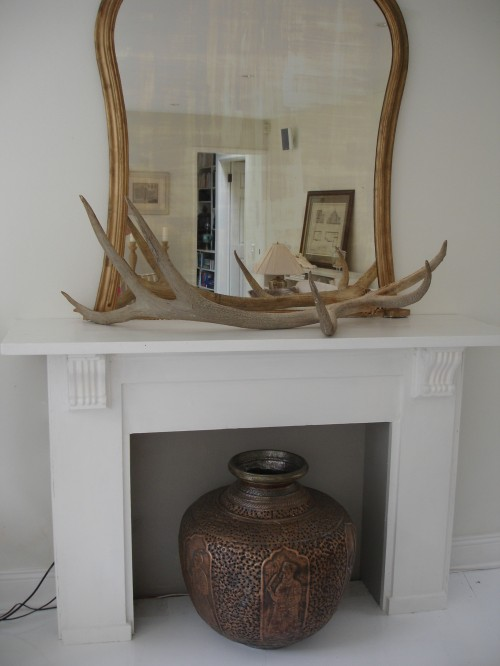 white mantlepiece fireplace after