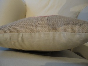 recycled cushion backed with linen