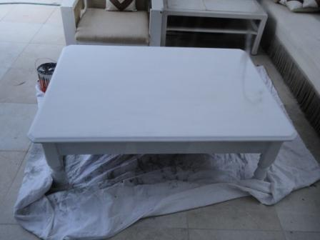 Primed painted white coffee table wood