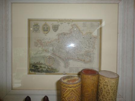 framed antique map
