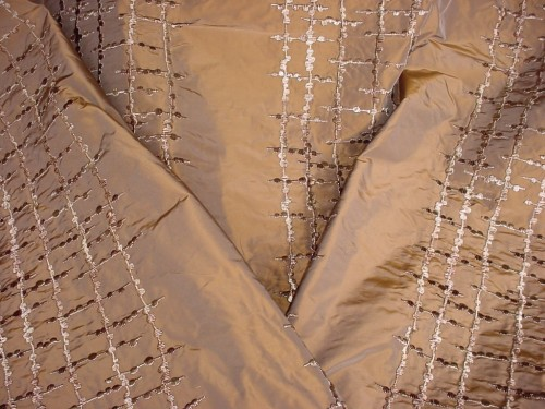 Caramel Silk curtain drape fabric interior