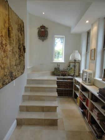hall entryway after interiors travertine tiles